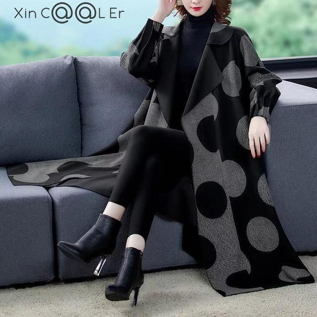 High Quality Fashion  Autumn Winter Women's  Woolen Long Coats Loose Middle Aged Mother Oversized Plaid Cape Drop-shoulder Wool 1