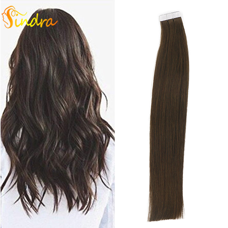 Sindra #2 Skin Weft Human Hair Straight 40pcs 20pcs Tape In Extension Remy Hair Double Sided Tape Hair 16