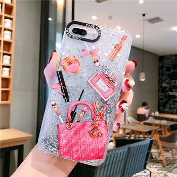 Dynamic liquid quicksand Cosmetic Makeups small icon case For iphone 7 8 6 6s plus x xr xs max sachet Lipstick Perfume cover