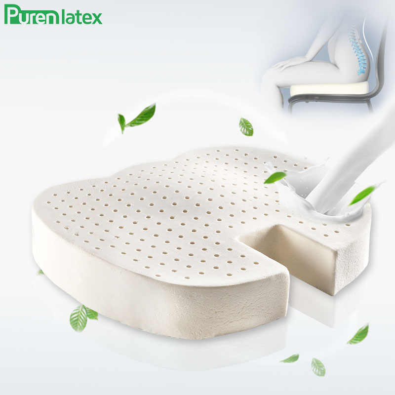 Purenlatex Latex Seat Cushion Orthopedic Coccyx Pad For Travel Office Chair Car Seat Cushion For Sciatica Back Pain Relief Cushion Aliexpress