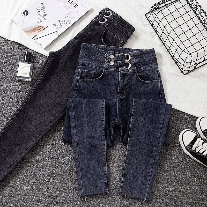 High Waist Denim Pencil Pants Woman 2020 New Arrive Dark Blue Skinny Jeans For Woman Korean Chic Show Slim Jean Female