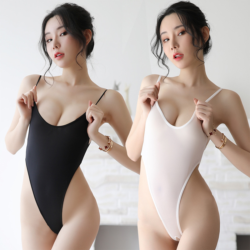 Erotic Conjoined Bodysuit Sexy Swimsuit Crotchless Bodysuit Transparent Tights White Black Sexy Japanese Lingerie One Piece Sex