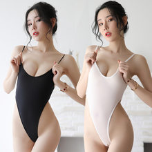 Erotic conjoined bodysuit sexy swimsuit crotchless bodysuit transparent tights white black sexy japanese lingerie one piece sex(China)