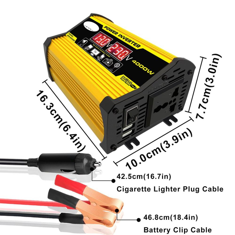 Otomobiller ve Motosikletler'ten Araç İnvertörleri'de 4000W 12V 220 V/110 V LED ekran araba güç invertörü dönüştürücü adaptör çift USB gerilim trafosu modifiye sinüs dalga title=