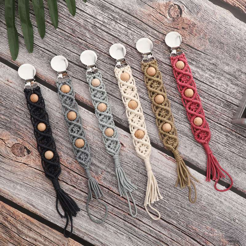 Dropship Vintage Simple Crochet Pacifier Clip Baby Chain Appease Children Nipples Clip Chain Holder Pacifier Clip Dummy Clips