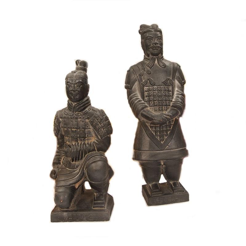Chinese Xian Terracotta Warriors Bronze Alloy Kneeling Knight Statue Figurine