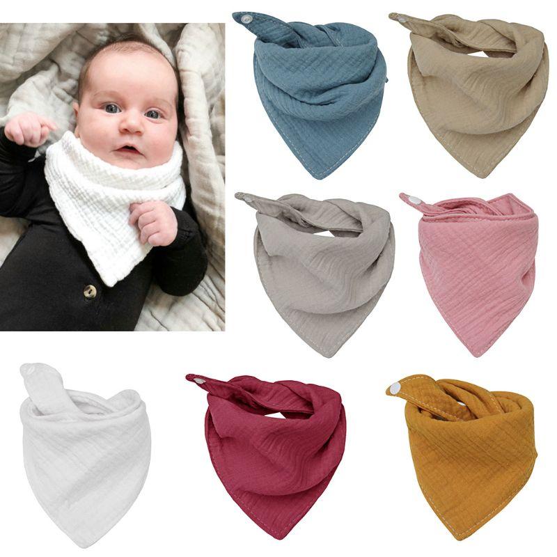 Baby Infant Cotton Bib Solid Color Triangle Scarf Feeding Saliva Towel Bandana Burp Cloth Boy Girl Babies Accessories Newborn
