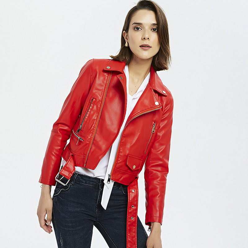 Fall 2019 new women clothing pu jacket lapel cultivate one's morality short locomotive small   leather   coat with belt