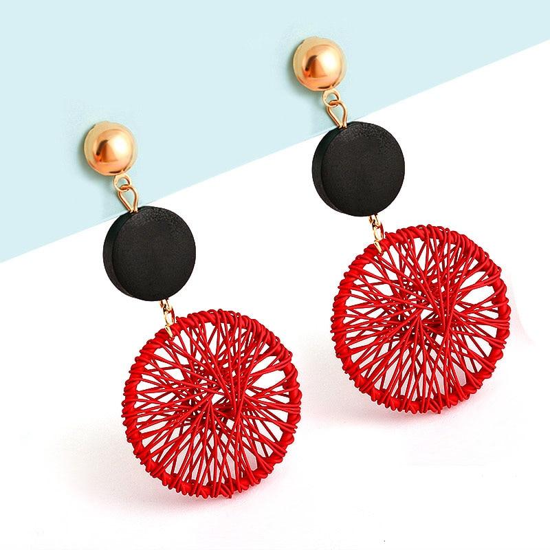Korean Statement Round Dangle Drop Earrings For Women Fashion Geometric Round Steel Wire Mesh Metal Earring 2019 Jewelry Brincos