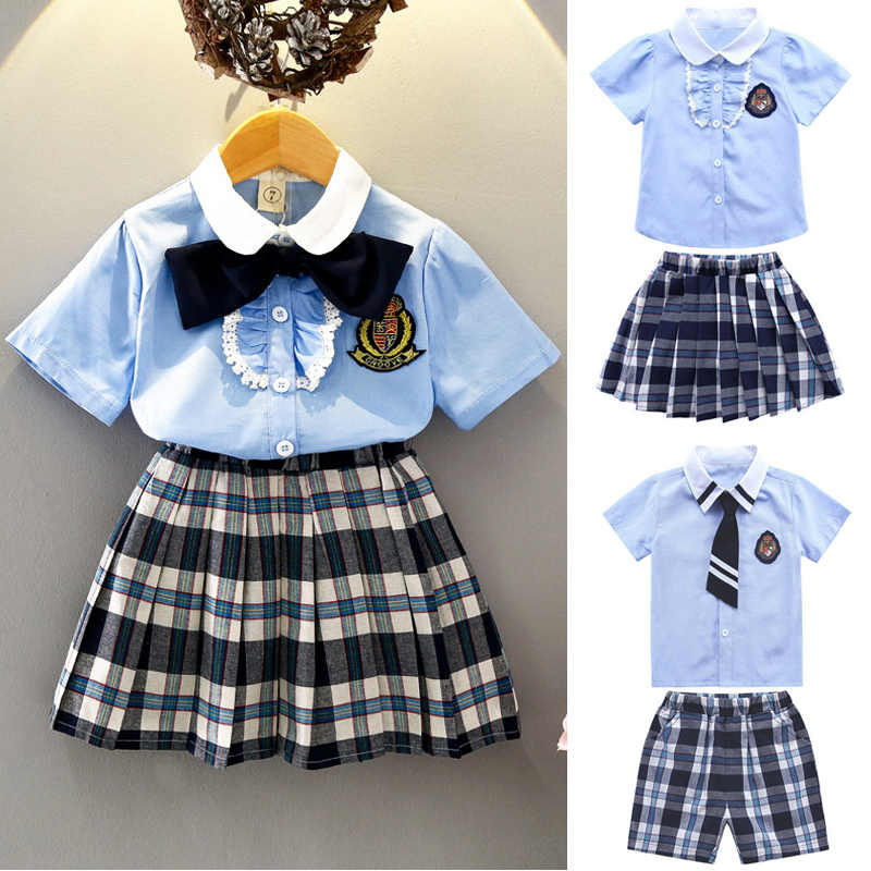 90-130cm Japanese Korean Style Plaid Student Girls School Uniform 2PCs Tops Skirt/shorts Clothing Set Dance Performance