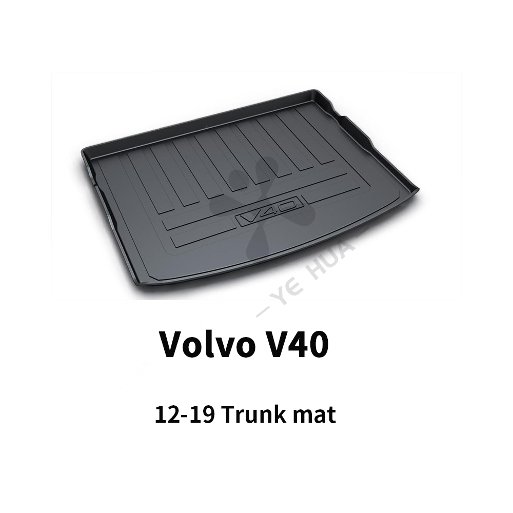 Black Heavy Duty Cargo Floor Mat-All Weather Trunk Protection, Durable HD TPO Fit For Volvo V40 2015 2016 2017 2018 2019