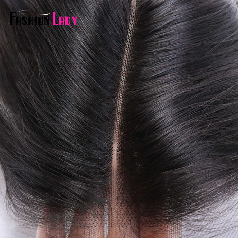 Pelo Liso brasileño para mujer, 100% de pelo humano 2/3 mechones con cierre de encaje de 2x6 pulgadas, parte media 1b # no Remy