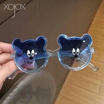 XojoX okulary przeciwsłoneczne dla dziewczynek chłopcy Vintage Gradient dzieci odcienie okulary słodki miś dzieci okulary dekoracyjne okulary przeciwsłoneczne dla dzieci tanie i dobre opinie CN (pochodzenie) Dziewczyny Gogle Z tworzywa sztucznego NONE UV400 Lustro 51mm TYJ91582