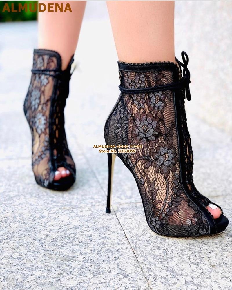 ALMUDENA Sexy Black Lace Flowers Dress