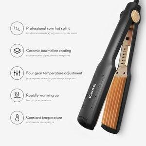 Image 2 - Kemei Professional Hair Curler Electric Curling Iron Corn Perm Splint Flat Iron Wave Board Ceramic Digital Styling Tools KM 472