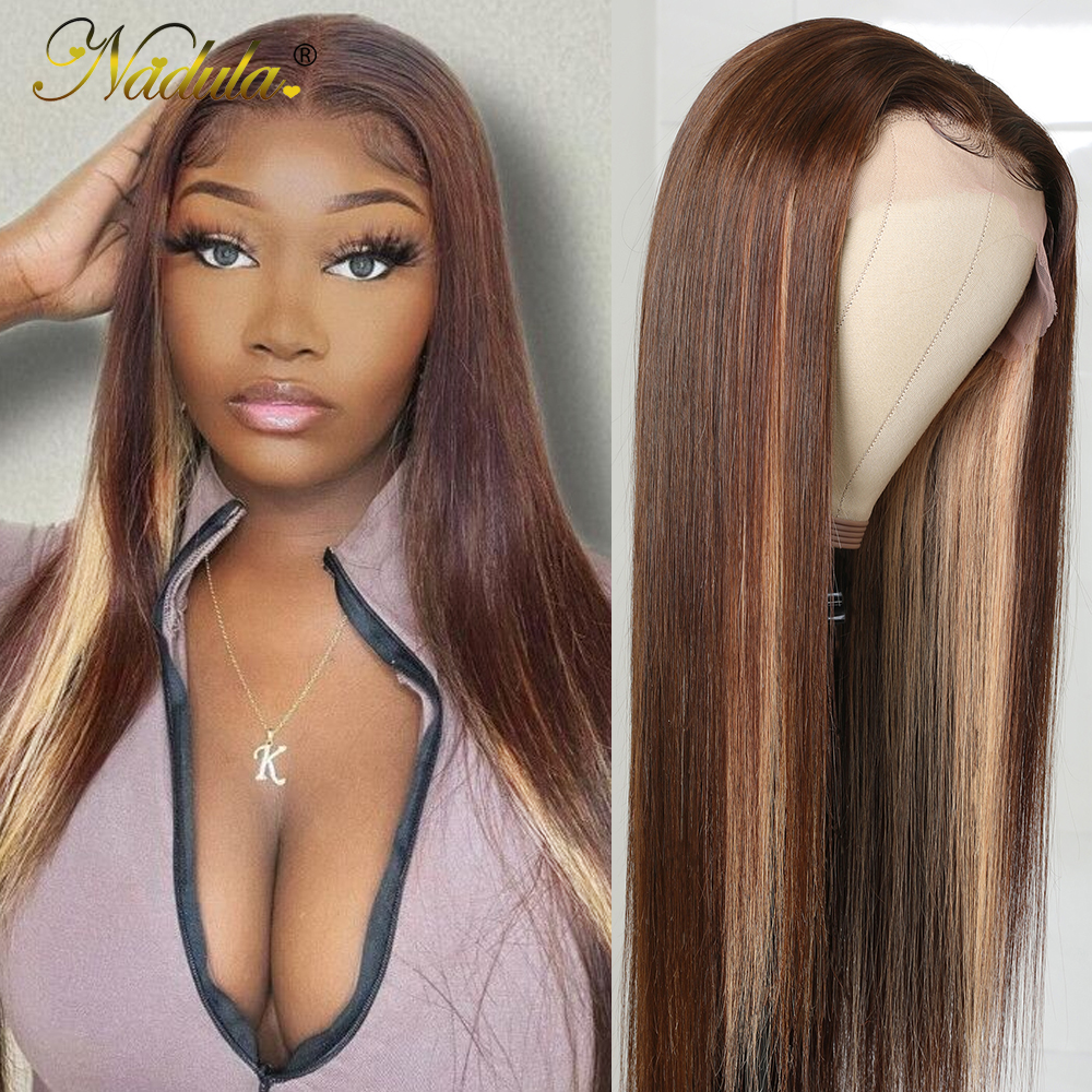 Nadula Hair Straight Lace Front  Wigs 13x4 Ombre Honey Blonde Straight Hair Wigs for Black Women Pre plucked  Hair 1