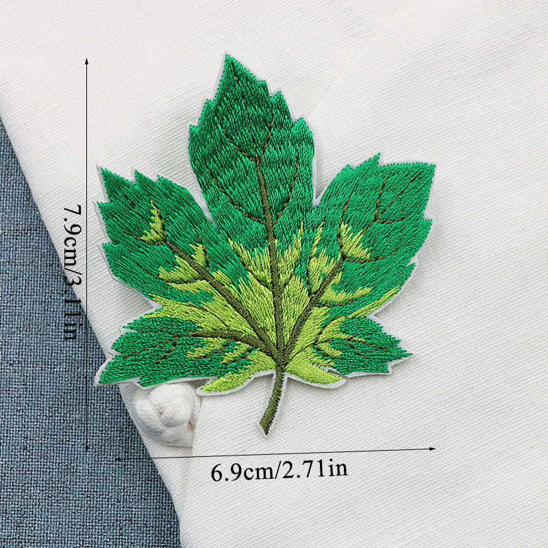 1 pieza hoja colorida DIY tela insignias parches para ropa Jeans bolsa ropa costura decoración apliques 6,9*7,9 2019 cm nuevo