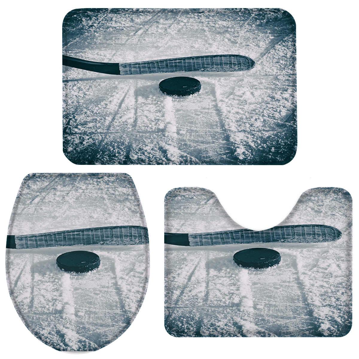Ice Hockey Sports Bath Set Toilet Cover