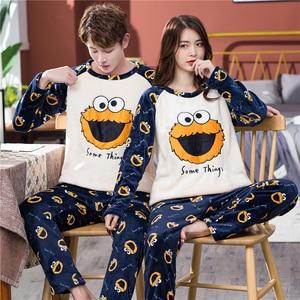 Новая зимняя Пижама для пары, теплая утепленная одежда для сна, милая мультяшная Мужская домашняя одежда, комплект из 2 предметов пижамы с ка...