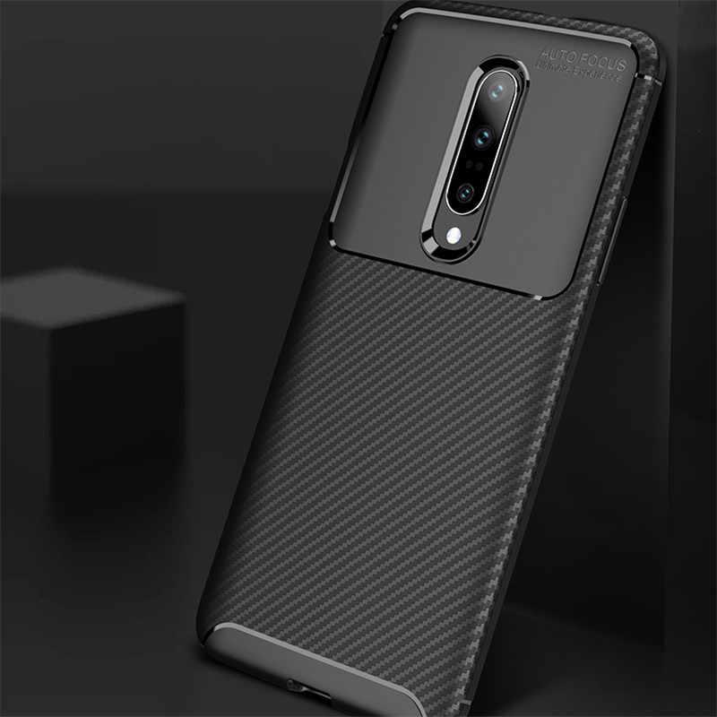 Yeni karbon Fiber telefon Case arka OnePlus 7 Pro 6 6T kılıf kapak bir artı 7 Pro 6 6T yumuşak silikon koruyucu telefon kılıfları
