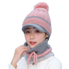 High Quality Warm Neck Knitted Fur Hat Beanie Hat Balaclava  Skullies Mask Ear Hat Knitted Winter Hat For Girl Female Cap Gorras цена