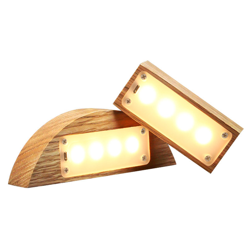 Wooden USB Rechargeable  LED Novetly Light Touch Switch Eyes Care Table Bedside Lamp Magnet Suction Lights Home Decoration