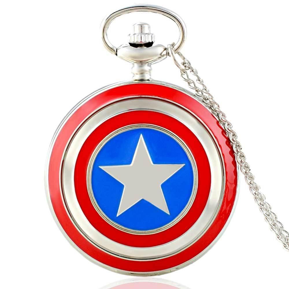 IBEINA Captain America Pocket Watch Full Hunter Pendant Chain Quartz Watches Unisex Men Fob Chain Pocketwatch Hand Around