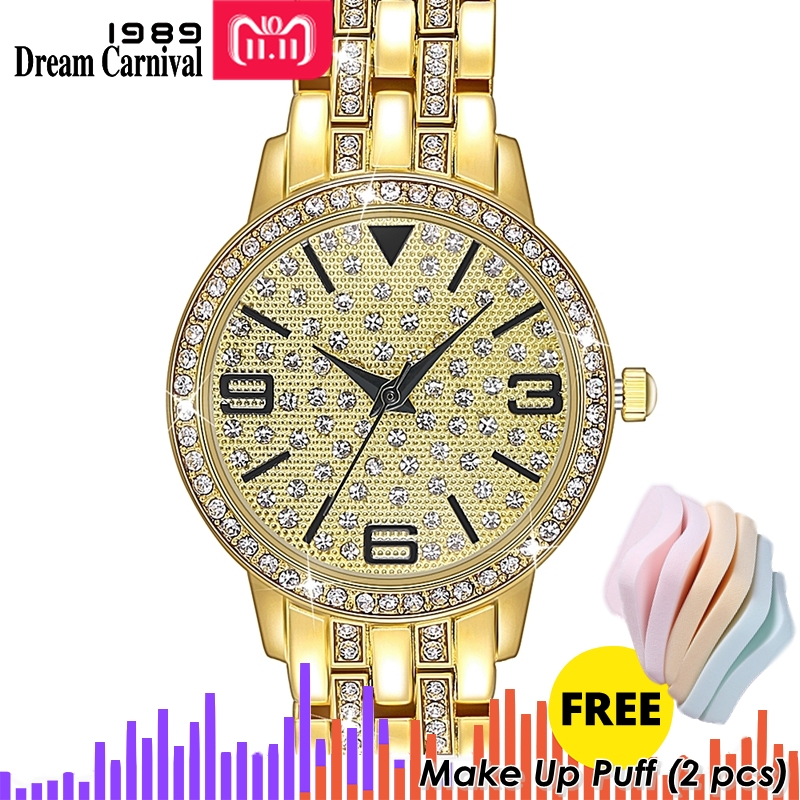 DreamCarnival 1989 Brand New Crystal Luxury Wrist Watch For Women Bracelet Quartz Black Hands Index Clock Oman Hot Selling A8363