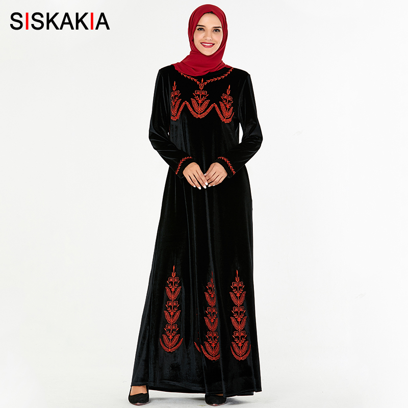 Siskakia Elegant Muslim Long Dress Velvet Retro Ethnic Embroidery Maxi Dresses Plus Size O Neck Full Sleeve Dubai Turkey Clothes image