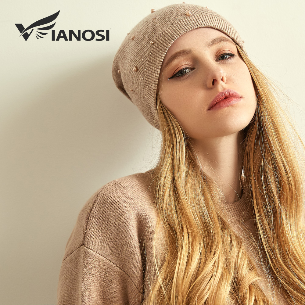 VIANOSI Brand Winter Wool Hats For Women Warm Beanies Hat New Fashion Design Caps With Pearl Touca