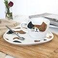 Набор кофейных чашек с объемной кошачьей ложкой в форме тарелки  милый котенок  чашка для полуденного чая  чашка для капучино  белая  черная  ...