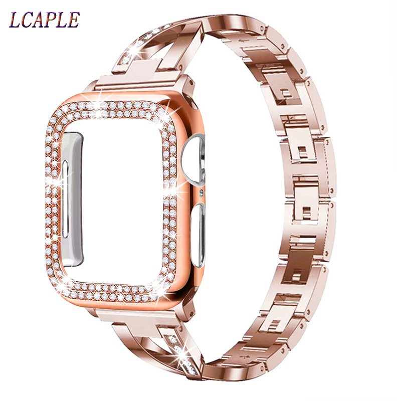 Case+Strap for <font><b>apple</b></font> <font><b>watch</b></font> 5 band 44mm 40mm stainless steel <font><b>correa</b></font> pulesira <font><b>apple</b></font> <font><b>watch</b></font> 4 <font><b>3</b></font> 2 iwatch band <font><b>42mm</b></font> 38mm+diamond case image