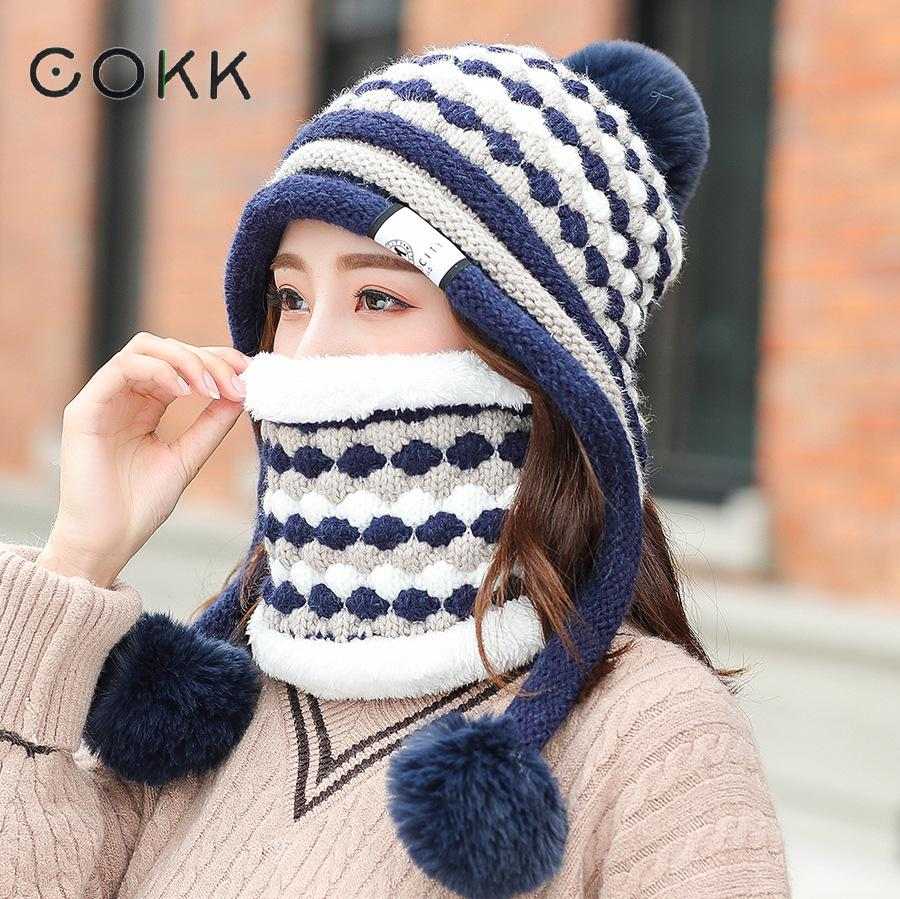 COKK 2019 New Winter Hat Scarf Two Piece Set Thickened Velvet Warm Ear Protect Korean Fashion Knitted Hat With Pompom Ladies Hat