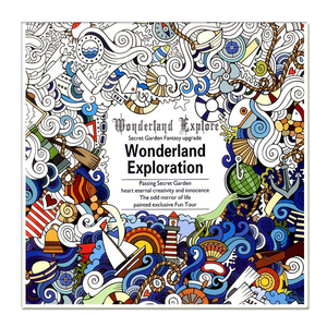 24 Pages Wonderland Exploration Coloring Book for Adult Child Anti Stress Graffiti Painting Drawing Art Book DIY Colouring Book