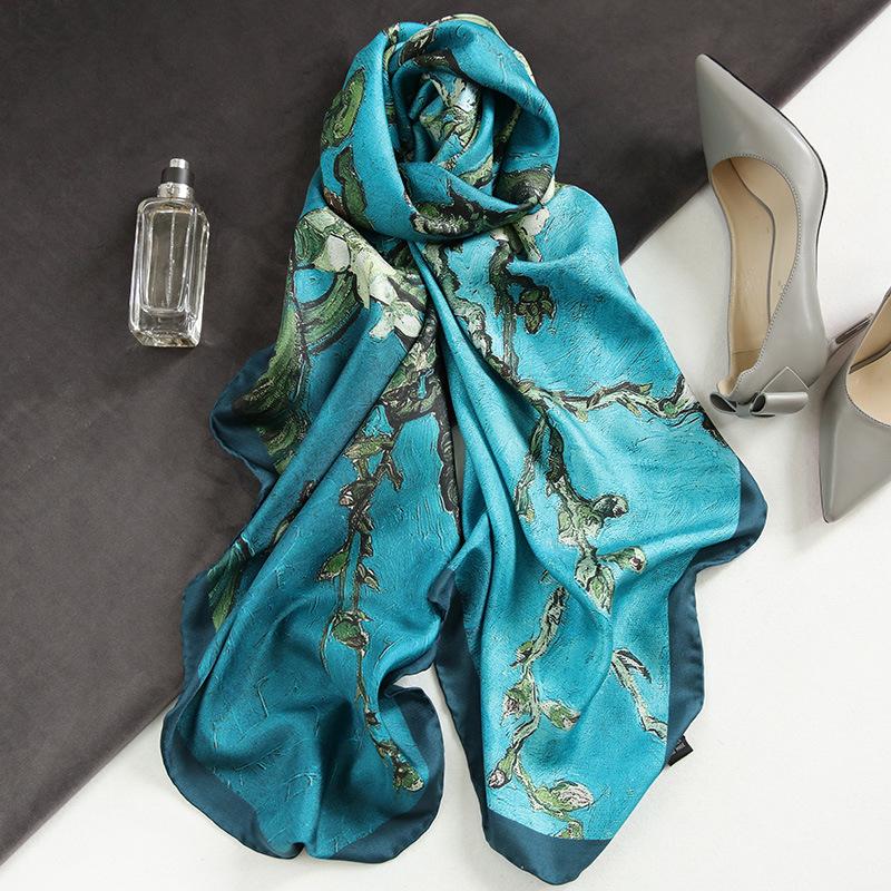 Spain Luxury Silk Scarf Women Designer Van Gogh Oil Painting Floral Silk Shawls Pashmina Ladies Wraps Scarves Foulard New Hijab