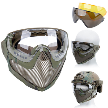 airsoft paintball mask safety protective anti fog goggle full face mask with black yellow clean lens tactical shooting equipment Airsoft Protective Mask Anti-fog Goggle Full Face Helmet Mask With Black/Yellow/Lens Tactical CS Shooting Paintball Accessories