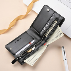 Fashion Luxury Leather Brand Bilfold Men Wallet with Coin Bag Zipper Small Money Purses Dollar Slim Purse Money Clip Wallet