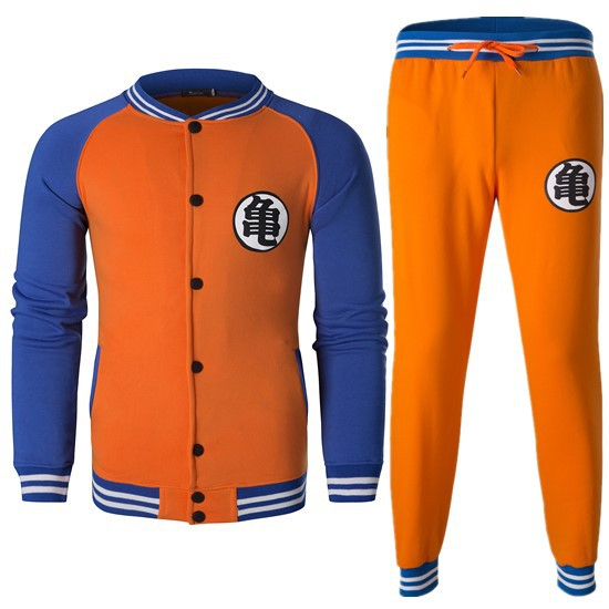 2018 New Style Autumn And Winter Men Baseball Uniform Pants Set Goku Printed Words Hoodie Sports Set Tz6442