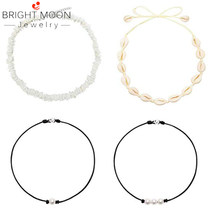 Bright Moon Adjustable Beach Shell Anklet Shell Choker Necklace Set for Women Girls Cowrie Shell Beads Jewelry(China)