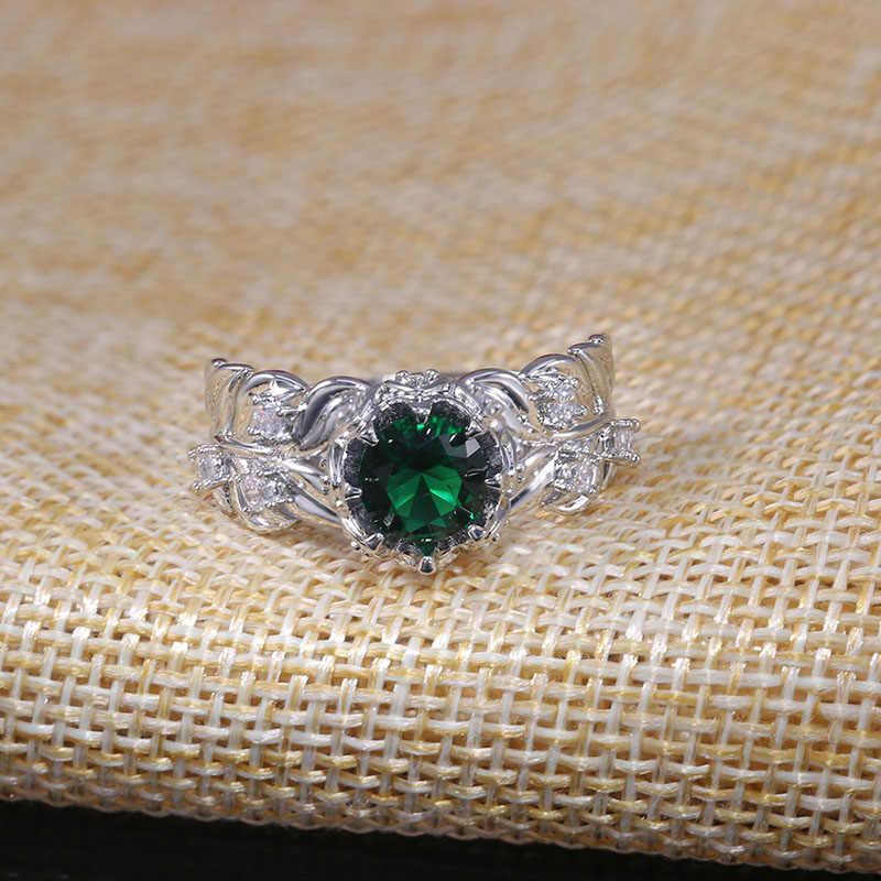 Modyle Cao Cấp Thương Hiệu Công Chúa Đính Đá Zircon Xanh Nhẫn Vintage Gothic Nhẫn Đính Nam Boho Pha Lê Ảo Thuật Cho Nữ, Nhẫn Nữ