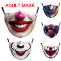 Hot Funny Clown Skull Mouth Cosplay Women's Men Unisex Masks Adult Face Dustproof Cycling Street Spots Breathable Halloween Mask