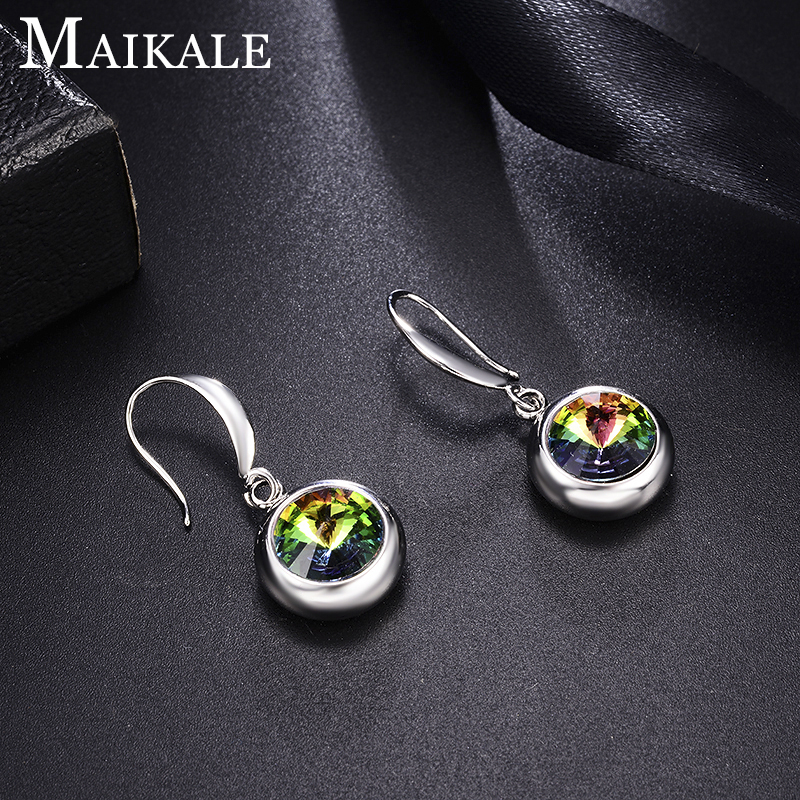 MAIKALE New Design Long Earrings Personality Round Crystal Fashion Gold Silver Color Zircon Korean Earrings For Women Frien Gift