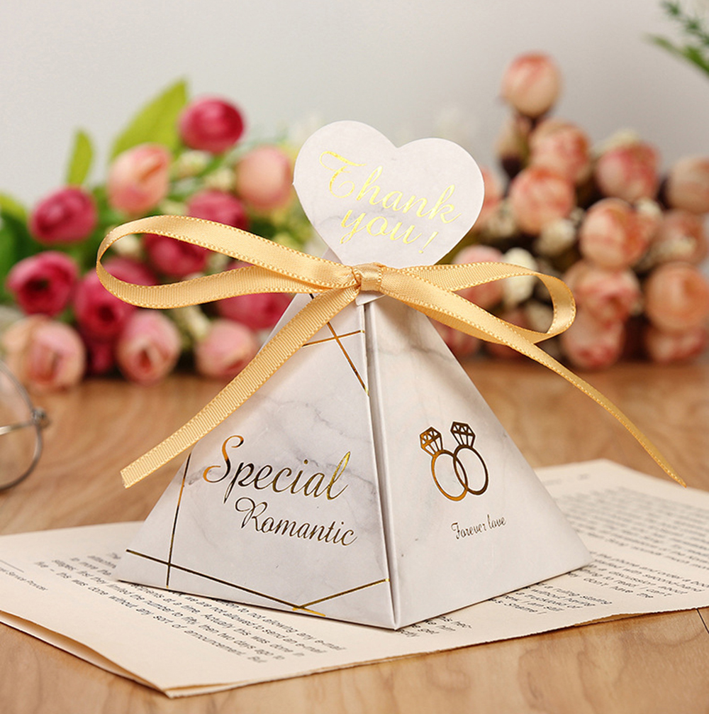 Triangular Pyramid Marble Candy Box Wedding Favors and Gifts Boxes Chocolate Box for Guests Giveaways Boxes Party Supplies-7