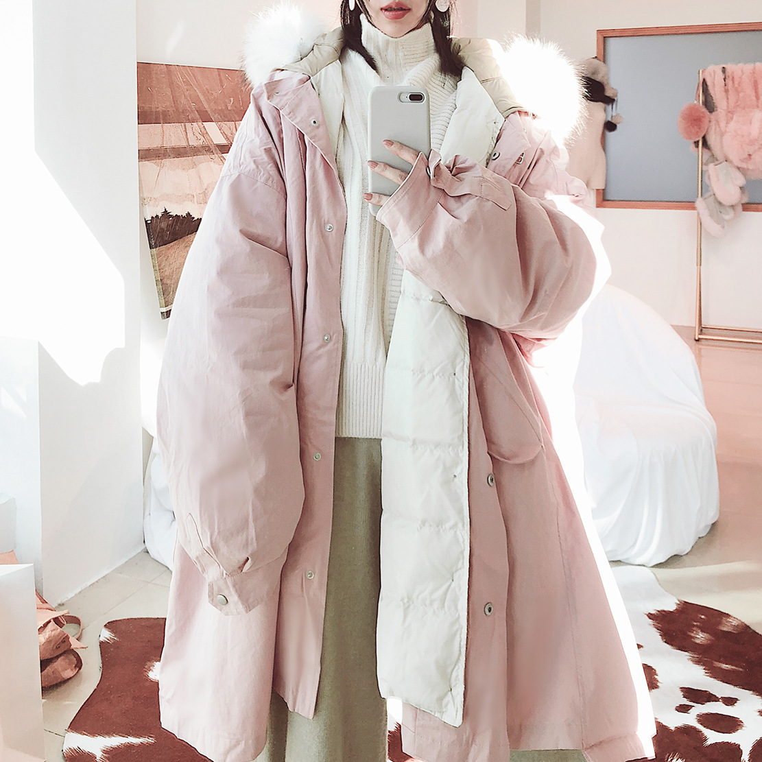 New 2020 Wome's Winter Down Jacket Luxury Natural Raccoon Fur Coat Super Qaulity Long Parka Outwear Abrigo Mujer LX2414