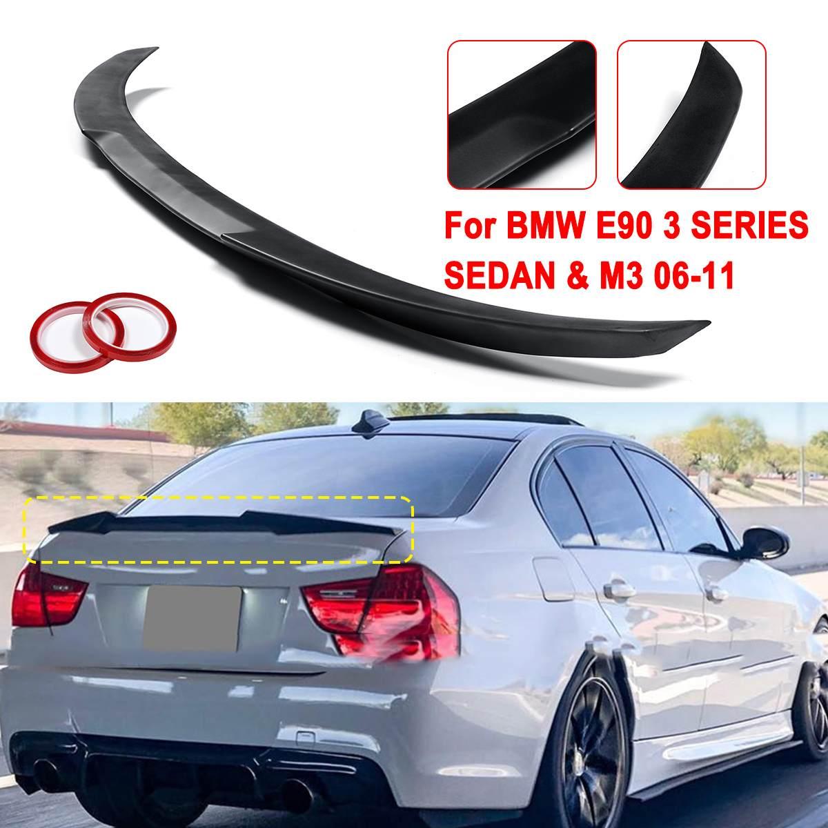 Matte/Glossy Black/คาร์บอนไฟเบอร์ ABS สปอยเลอร์ปีก M4-STYLE สำหรับ 2006-2011 สำหรับ BMW E90 3 SERIES ซีดาน & M3 2008-2012