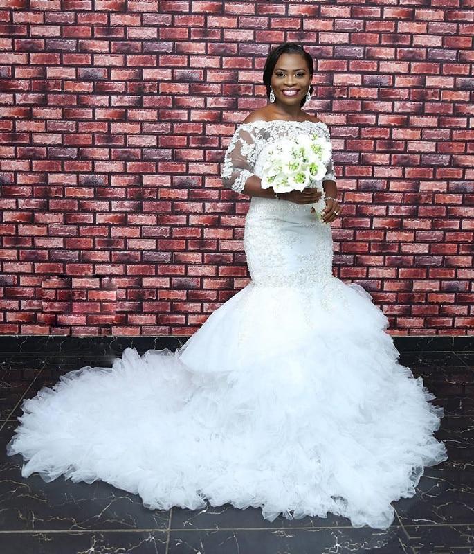 Очаровательный ЮАР свадебный бисер для платья Кружева 3/4 рукава плюс размер свадебное платье пушистая женская блуза с послойным