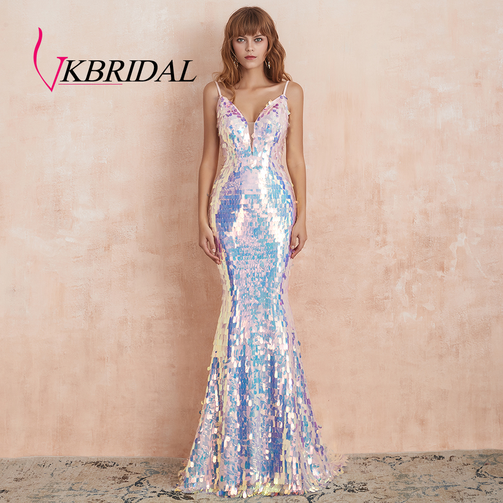 VKbridal Sparkly Evening Dresses 2019 Sexy Backless Illusion V Neck Pink Sequin Long Prom Party Formal Gowns