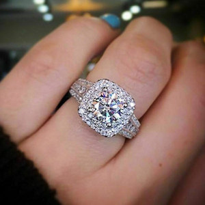 Huitan Classic Luxury Wedding Rings for Women High Quality Micro Paved CZ Zircon Stone Carefully Orchestrated Bridal Jewelry Hot