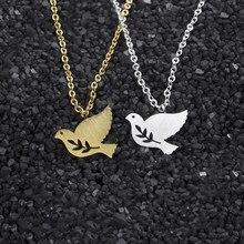 Ramo de oliveira paz pomba colares para mulheres meninas ouro cor prata aço inoxidável corrente pombo feminino pingente colar jóias