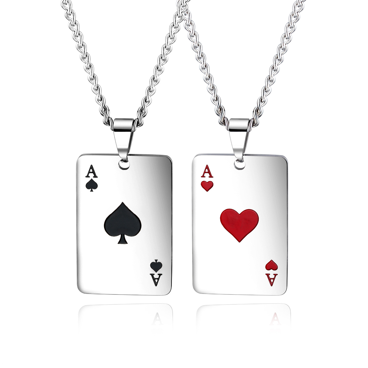 Cyue New Arrival Stainless Seel Black Spades Lucky Poker Charm Necklace For Women Men Jewelry GX1542H